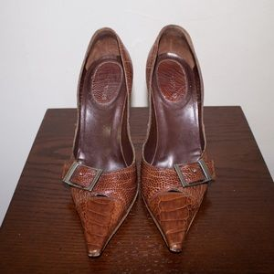 Sergio Rossi Real Snakeskin Pumps with Buckle